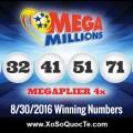 Kết Quả Xổ Số Mega Millions Ngày 31-08-2016 (giờ Việt Nam)