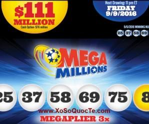 Kết Quả Xổ Số Tự Chọn Mega Millions ngày quay thưởng 07/09/2016