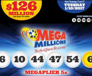 Kết Quả Xổ Số Tự Chọn Mega Millions ngày quay thưởng 06/1/2017