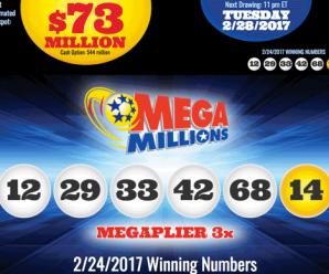 Kết Quả Xổ Số Tự Chọn Mega Millions ngày quay thưởng 24/2/2017