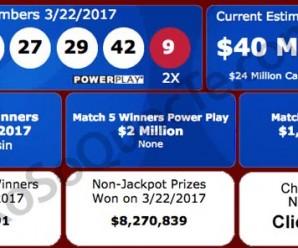 Giải Xổ Số Powerball 3500 tỷ VNĐ Ngày Quay Thưởng 22/3/2017 Đã Có Chủ