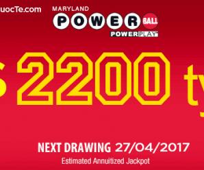 Xổ Số Powerball Tiến Lên Mốc $100 Triệu USD Tương Đương Hơn 2200 Tỷ VNĐ