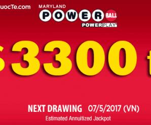 Đầu Tháng 5/2017: Xổ Số Powerball Vượt Lên Mốc Cao Hơn 3300 tỷ VNĐ