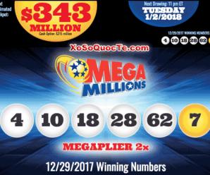 Kết Quả Xổ Số Mega Millions ngày 30/12/2017: Có 1 Người Thành Triệu Phú