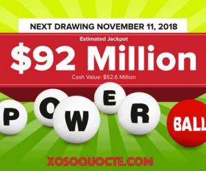 """Kết Quả Xổ Số Powerball ngày 8/11/2018: Một người """"ẵm"""" giải $2 Triệu USD"""
