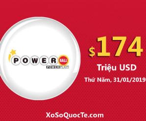 Kết quả ngày 27/1/19: Xổ số Powerball hấp dẫn khi jackpot lên tới $174 triệu đô-la