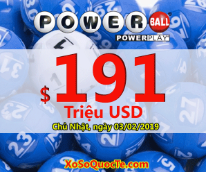 Xổ số Powerball chuẩn bị chinh phục mốc $200 triệu khi jackpot lên $191 triệu USD