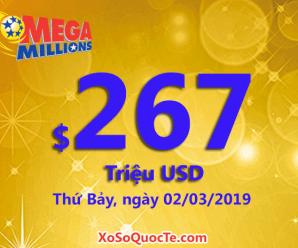Mega Millions tăng lên mức $267 triệu USD; phiên ngày 27/2/19 có 3 người trúng $1 triệu USD