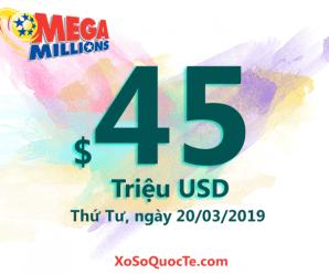 Kết quả xổ số Mega Millions ngày 26/03/2019: Jackpot tiến lên mức $45 triệu USD