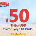Kết quả xổ số tự chọn Mega Millions ngày 09/03/2019; Jackpot tăng lên mức $50 triệu USD