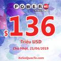 Kết quả xổ số tự chọn Powerball ngày 18/04/2019: Jackpot hiện tại là $136 triệu USD