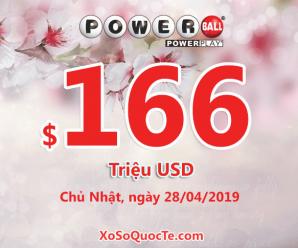 Kết quả ngày 25/04/19: Xổ số Powerball hấp dẫn với jackpot lên $166 triệu USD
