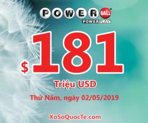 Kết quả xổ số Powerball ngày 28/4/2019: Có 3 tấm vé trúng triệu đô-la