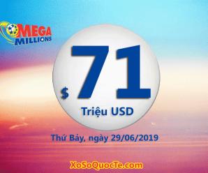 Kết quả xổ số Mega Millions ngày 26/06/2019: 1 người trúng giải Nhất