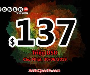 Xổ số tự chọn Mỹ Powerball cán mốc $137 triệu đô-la sau phiên 27/06/2019