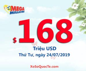 Kết quả xổ số Mega Millions ngày 20/07/2019, Jackpot tăng giá trị lên $168 triệu USD
