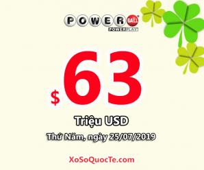 Jackpot xổ số Powerball lên mức $63 triệu đô-la cho phiên ngày 25/7/2019