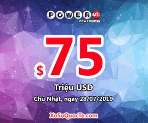 Kết quả xổ số Powerball ngày 25/07/2019: Một người trúng $1,000,000