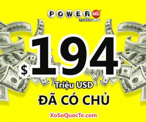 $194 triệu đô-la của xổ số tự chọn Powerball nổi tiếng nước Mỹ đã có chủ