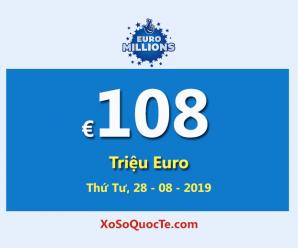 Euro Millions tiếp tục là giải xổ số có jackpot lớn nhất thế giới với €108 Triệu Euro