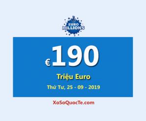 Jackpot EuroMillions giữ vững vị trí là jackpot lớn nhất thế giới với €190 Triệu Euro