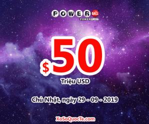 Kết quả xổ số Powerball ngày 26/09/2019, Jackpot hiện là $50 triệu đô-la