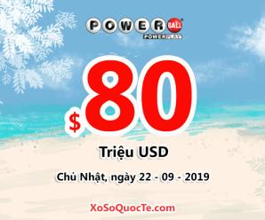 Ngày 19/09/2019: Xổ số Powerball có 1 người chơi trúng $1 triệu USD