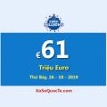 Jackpot của xổ số tự chọn EuroMillions đang có giá trị €61 Triệu Euro
