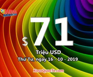 Kết quả xổ số tự chọn Mega Millions ngày 16/10/2019; jackpot hiện là $71 triệu USD
