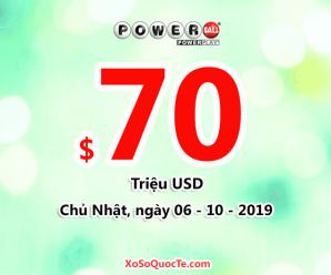 Jackpot Powerball lên mốc $70 triệu đô-la cho phiên ngày 06/10/2019