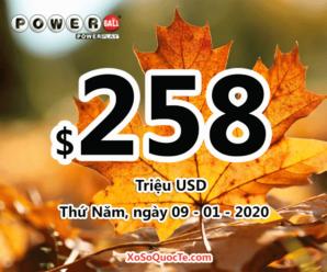 $6 triệu đô có chủ, giải thưởng xổ số Powerball lên ngưỡng $258 triệu USD