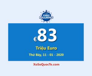 Kết quả xổ số châu Âu Euro Millions ngày 08/01/2020; Jackpot lớn thứ hai thế giới có giá trị €83 Triệu Euro