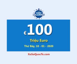 Euro Millions tiếp tục là Jackpot lớn thứ hai thế giới với €100 Triệu Euro