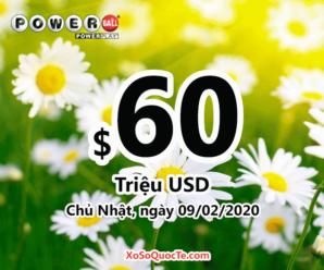 Kết quả xổ số Powerball ngày 06/02/2020: Có 1 người trúng giải 2 triệu đô-la