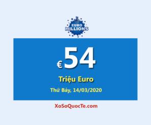 EuroMillions có jackpot €54 Triệu Euro – tương đương 1404 tỷ đồng