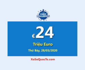 EuroMillions tăng giá trị jackpot lên €24 Triệu Euro sau phiên 25/03/2020
