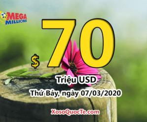 Kết quả xổ số Mega Millions ngày 04/03/2020, Jackpot tích lũy lên $70 triệu USD