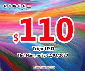 Kết quả ngày 08/03/20: Xổ số Powerball hấp dẫn với jackpot lên $110 triệu USD