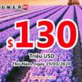 Kết quả xổ số Powerball ngày 15/03/2020: Người chơi Connecticut trúng $1 triệu đô