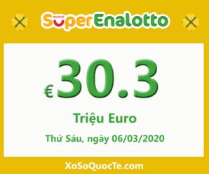 Xổ số SuperEnalotto có jackpot vượt lên mốc €30.3 triệu Euro