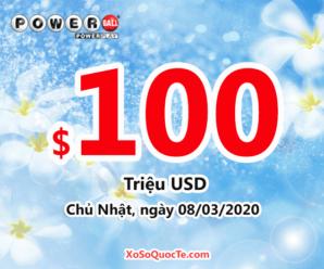 Xổ số tự chọn Mỹ Powerball cán mốc $100 triệu đô-la sau phiên 05/03/2020