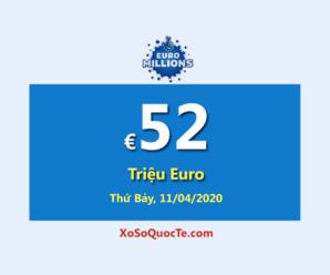 3 người chơi trúng giải Nhất; Euro Millions tăng giá trị Jackpot lên €52 triệu Euro