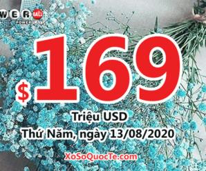 Kết quả xổ số Powerball ngày 09/08/2020: giá trị jackpot tích lũy lên $169 triệu USD