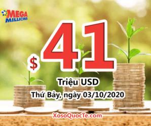 Kết quả xổ số Mega Millions ngày 30/09/2020; Jackpot $41 triệu đô-la đợi chủ