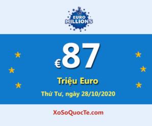 Ba người trúng giải Nhất, Euro Millions đang có Jackpot €87 triệu Euro