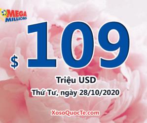Kết quả xổ số tự chọn Mega Millions ngày 24/10/2020; Jackpot tăng lên mức $109 triệu USD