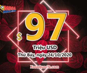 Kết quả xổ số tự chọn Mega Millions ngày 21/10/2020; Jackpot tăng lên mức $97 triệu USD