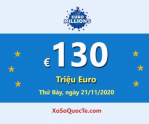 18/11/2020: Một người chơi trúng giải Nhất; Jackpot EuroMillions tăng lên €130 triệu Euro