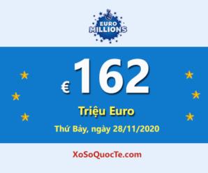 """Kết quả xổ số Euro Millions 25/11/2020; Jackpot """"khủng"""" trị giá €162 triệu Euro"""