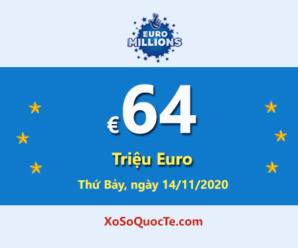 EuroMillions đang có Jackpot €64 Triệu Euro – tương đương 1664 tỷ đồng